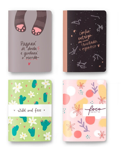 Pack 4 Cadernos Bullet Journal, Sketchbook Ou Pautado