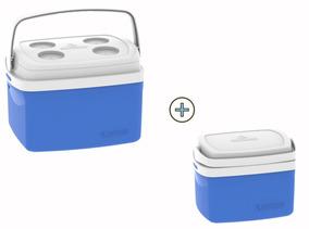 Combo De Caixas Térmica Com Alça 12 + 5 Litros Azul Soprano