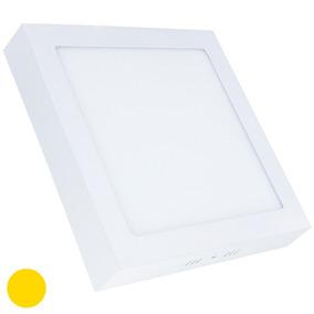 Painel Plafon 18w Led Quadrado Teto Sobrepor Branco Quente