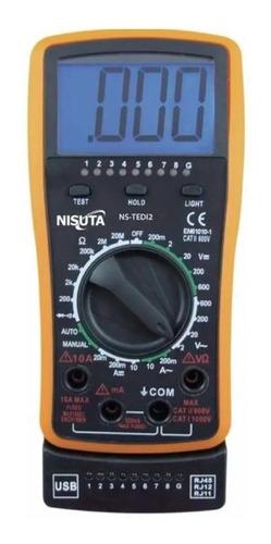 Imagen 1 de 5 de Multímetro Tester Digital Display Luz Testea Cable Red Rj45