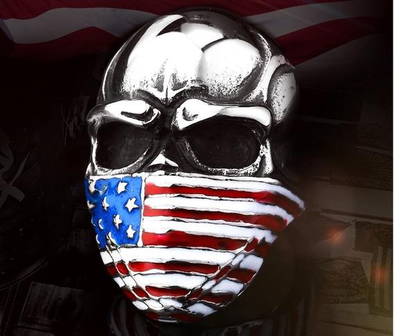 Anel Caveira Bandeira Usa - Aço Inoxidável