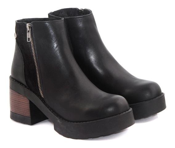 Bota Mujer Botineta Taco Separado Zapato Moda Cuero Citadina