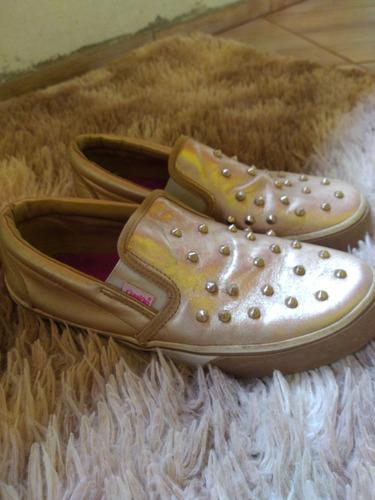 Tênis Dourado Moda Blogueira