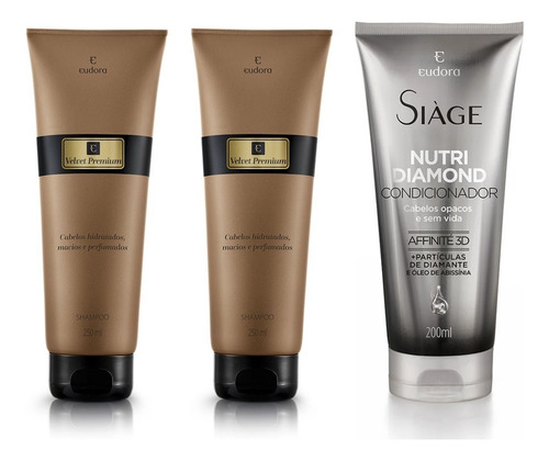 Shampoo Velvet Premium (2uni)+ Cond Nutri Diamond- Eudora