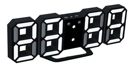3d Led Alarme Digital Branco