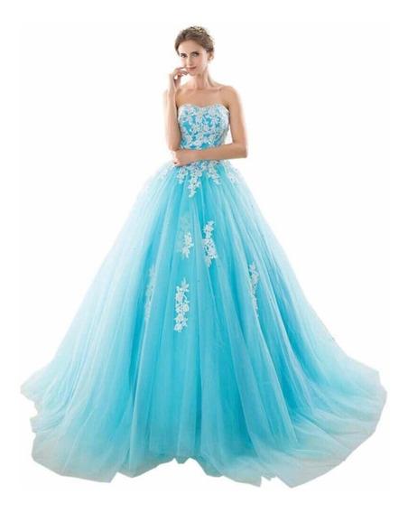 Vestido De Xv Años Azul Aqua Con Bordados Mod 3087 Importad