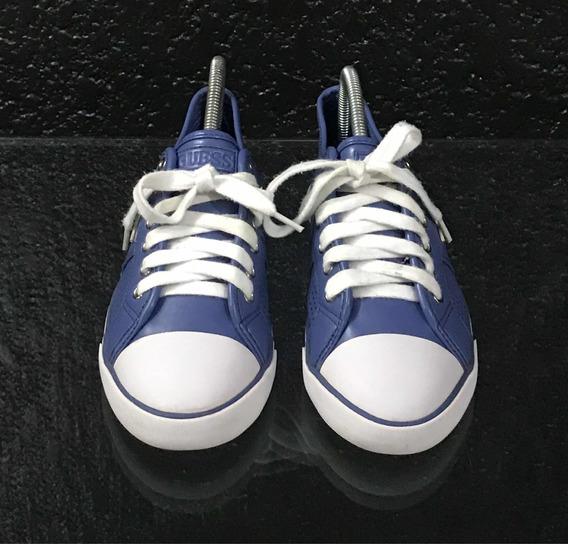 Tenis Azules De Piel Marca Guess Originales #5 Mex. Usados