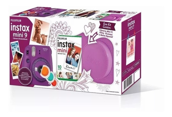 Kit Câmera Instax Mini 9 Roxo Açai (bolsa + 10 Filmes)