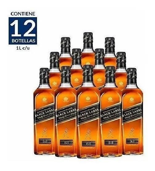 Whisky Johnnie Walker Etiqueta Negra De 1lt. Cj 12 Pzas.