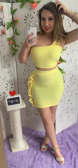 Conjunto Saia Tubinho Colada Cropped Babados Amarelo Cm Bojo