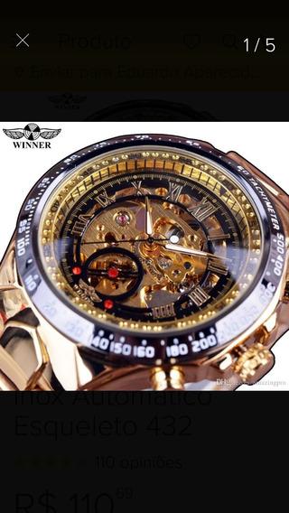 Relogio Masculino Dourado Luxo Inox Automatico Esqueleto 432