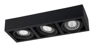 Plafon Techo Led Ar111 3 Luces Cuadrado Cardanico Negro