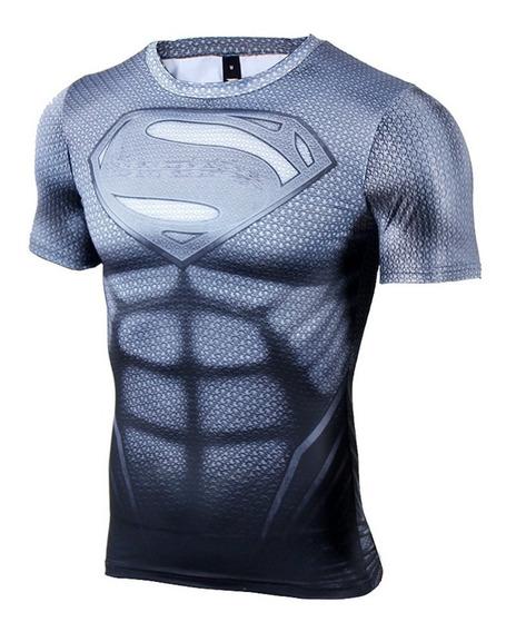 Camisa Compressão Superman Cinza Manga Curta Pronta Entrega