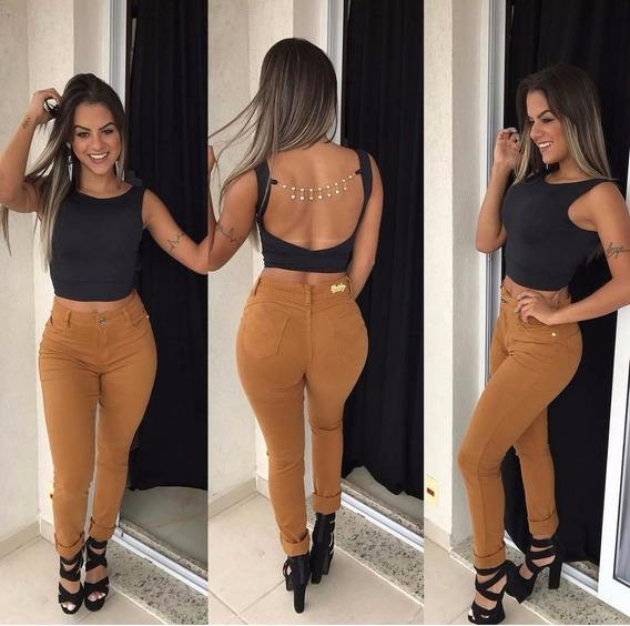 Calça Jeans Cintura Alta Caramelo Marrom Skinny Est Pittbull