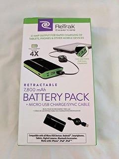 Retrak Etespb8 Powerbank Wcable De Micro Usb Retráctil 7800