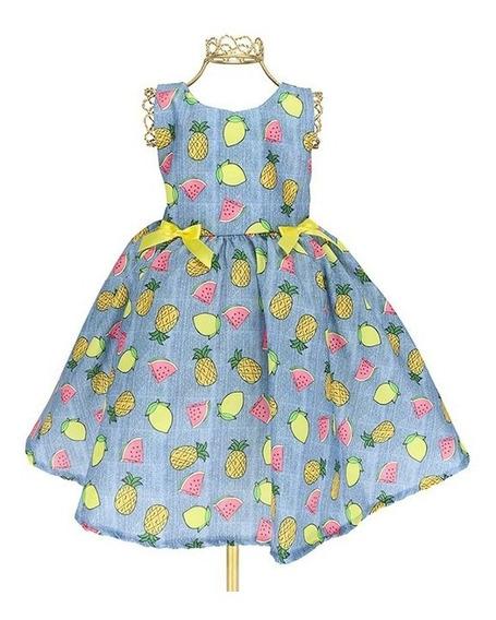 Vestido Infantil Jeans Estampa Frutas Magali Alegre Bn745