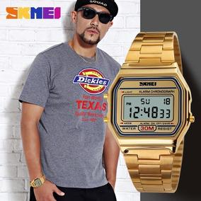 Relógio Masculino Original Skmei Dourado Retro Digital
