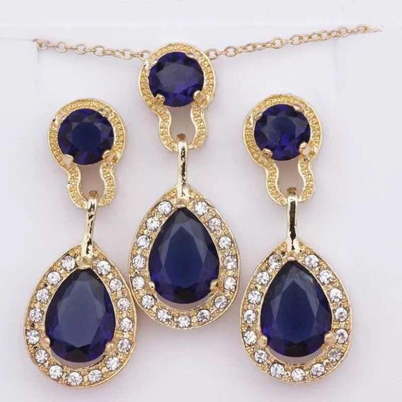 Aretes Y Collar Chapa Oro Cristal Tipo Swarovsk