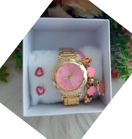 Conjunto Relógio Pulseira Feminino Strass Rose Banhada Ouro