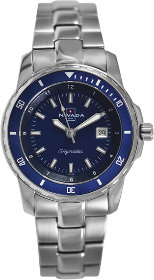 Reloj Nivada Swiss Skymaster Cristal De Zafiro P/dama 32mm