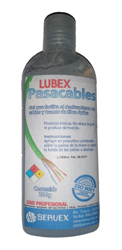 Gel Pasacable Lubex Servex Alta Performance