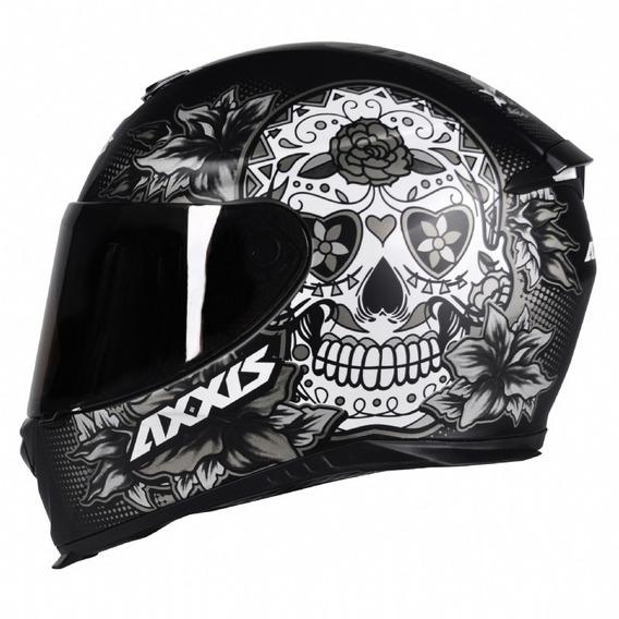 Capacete Mt/axxis Eagle Skull Preto Fosco/cinza