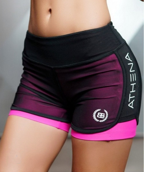 Short Dama 2 En 1 Fitness Gym Yoga Crossfit Lycra Sexy Moda