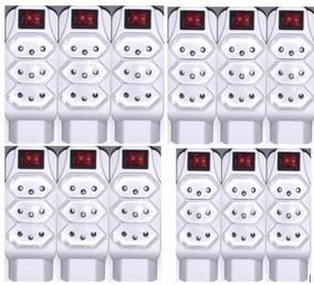 Kit 12 Tomada Pino Multiplicador 4tom 2p+t Com Liga/desliga