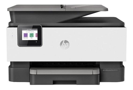Impressora a cor multifuncional HP OfficeJet Pro 9010 com wifi 100V/240V branca e cinza