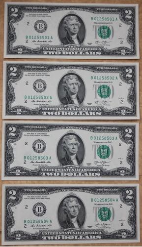 Imagen 1 de 2 de Billetes Dos Dolares Estados Unidos 2013 Lote De 4 Usa 2 Dol