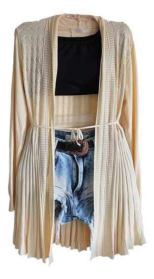 Blusa De Frio Feminina Cardigan Suéter Lã Trico Lisa 2553