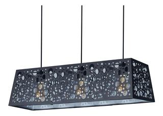 Lampara Colgante Aluminio Negro 3 Luces Hole 3 Apto Led