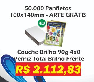 50000 Panfletos 10x14 Couchê 90g Frente E Verso Arte Grátis