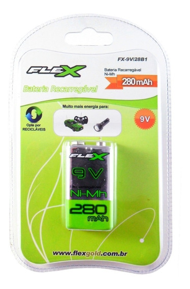 2x Bateria Recarregável Para Microfone 9v 280mah Flex