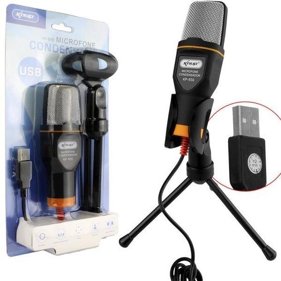 Microfone Condensador Usb Estudio Profissional Com Tripe