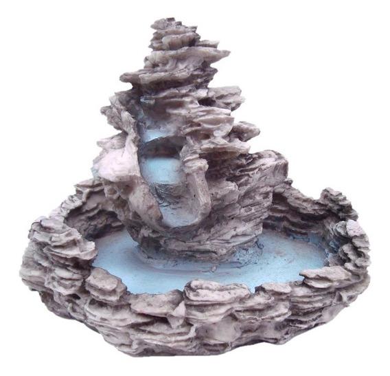Fonte Cascata Água Pedra Em Resina Decorativa Com Bomba
