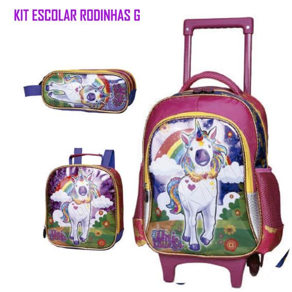 Mochila Rodinha Unicórnio Escolar Kit +lanch +estojo Mc3495