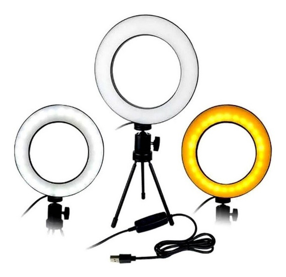 Luminária Ring Light 16cm Usb Led Misto 5500k 3500k + Trip