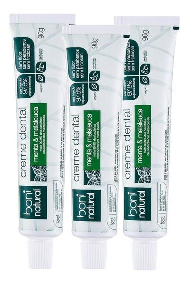 Kit Com 3 Unidades Da Pasta Dental Natural Menta E Melaleuca Sem Flúor Boni Natural