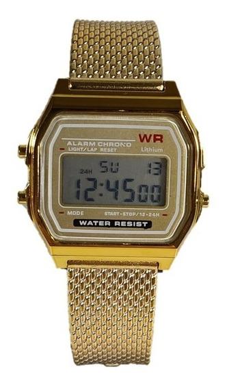 Relógio Feminino Digital Dourado Retro Novidade De Borracha