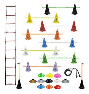 Escada Agilidade + 10 Cones C/ Barreiras + 10 Pratos + Corda
