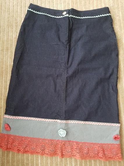 Saia Jeans Com Bordado Flor E Renda Rosa Azul Italiana 38