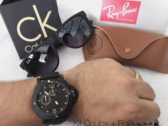Relógio Masculino + Óculos De Sol Uv400