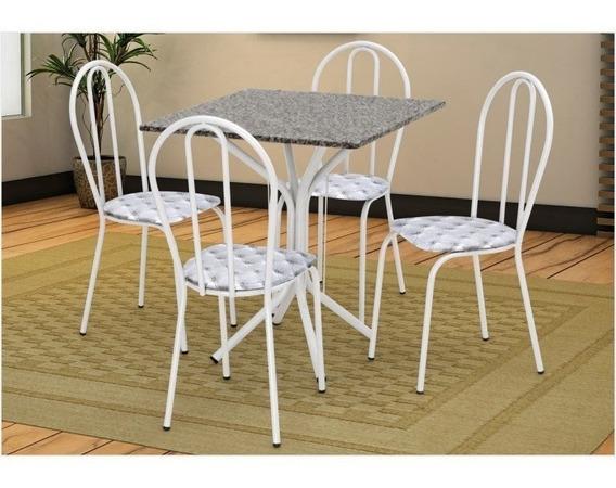 Mesa E Cadeiras Thais Tampo Granito Branca Assento/capitone