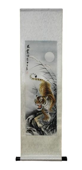 Flâmula Decorativa De Tecido Para Parede - Tigre 96 X 24
