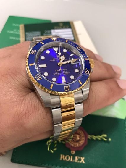 Espetacular Relógio Mod. Submariner Steel And Gold Aço