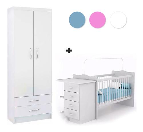 Cuna Infantil C/ Cambiador + Ropero 2p C/ 2c Dormitorio Inf