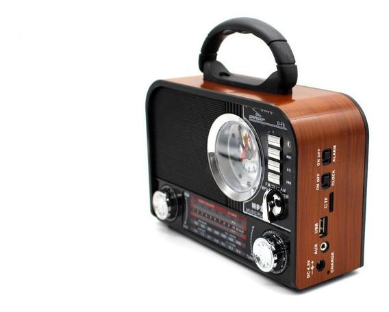 Rádio Bluetooth Retro D-f8 Fm Am Sw Usb Portátil Relógio