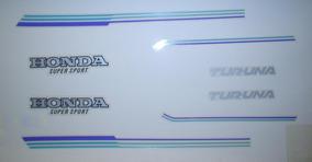 Kit Adesivos Honda Turuna 125 1981 Até 1982 Azul