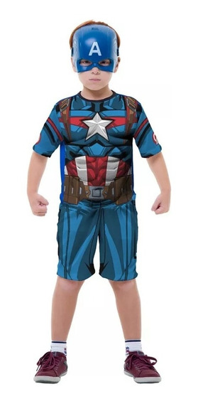 Roupa Infantil Capitao America Classica Curta Avengers